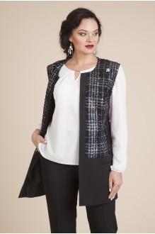 Лилиана 584 черный/белый (блузка+жилет)