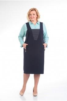 Прити 604 бирюзовая рубашка/синий сарафан
