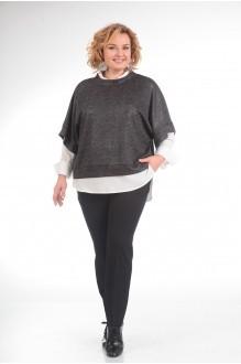 Прити 618 темно-серый/белая блузка