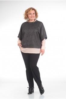 Прити 618 темно-серый/розовая блузка