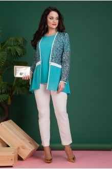 Лилиана 620 изумруд/светлые брюки