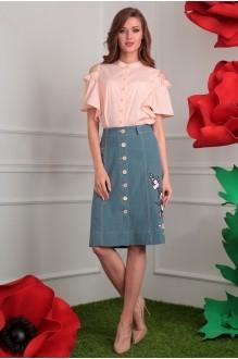 Мода-Юрс 2408 розовый + зеленая юбка_аппликация сакура
