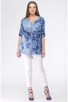 Ладис Лайн 819 голубой+белые цветы