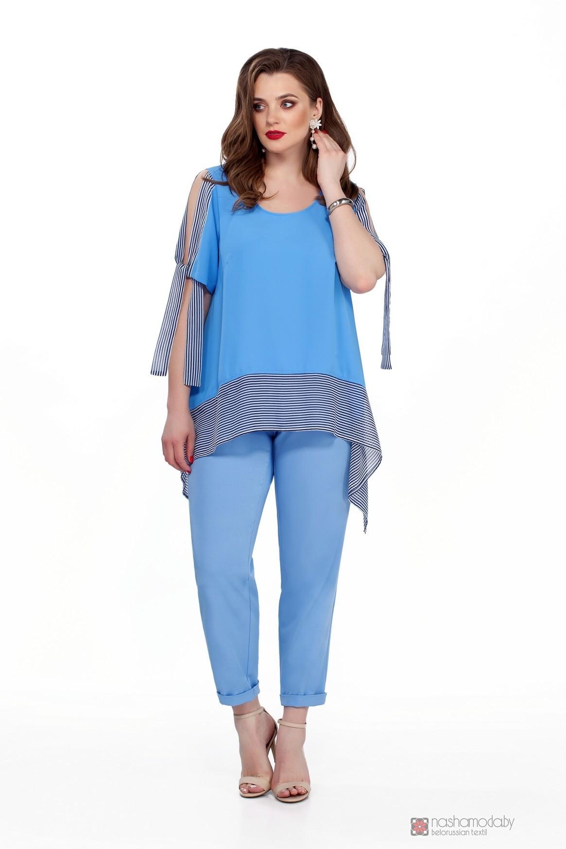 Модель TEZA 198 голубая блуза/голубые брюки