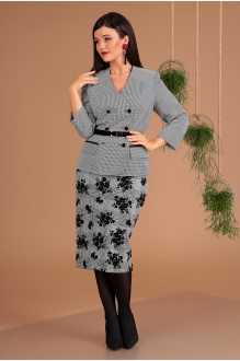 Мода-Юрс 2491 чёрно-белый + юбка клетка