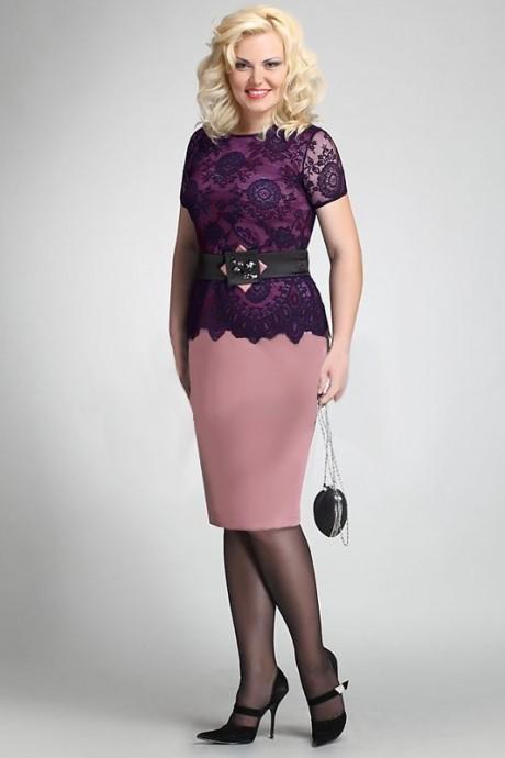 Вечернее платье Matini 1.486 розовый/синий гипюр