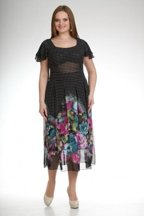 Летнее платье Лиона-Стиль 361  черный цветы