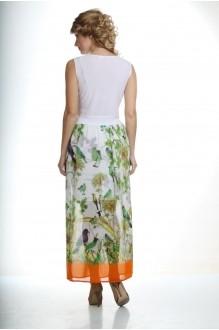 Длинные платья Лиона-Стиль 435 белый/оранжевый снизу фото 2