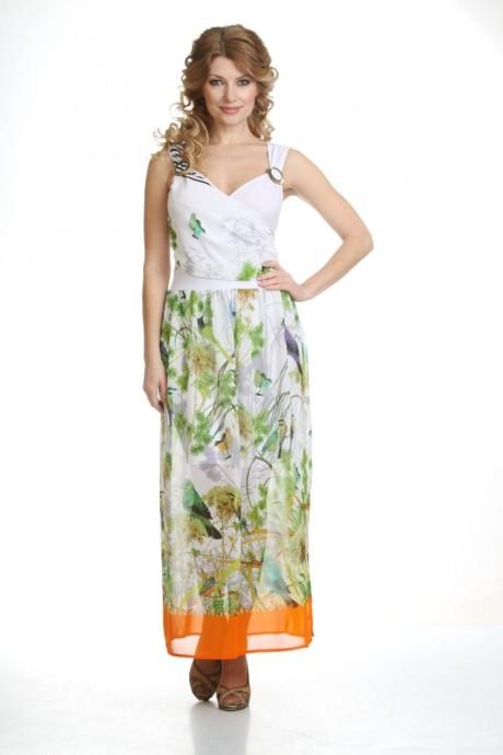 Длинные платья Лиона-Стиль 435 белый/оранжевый снизу