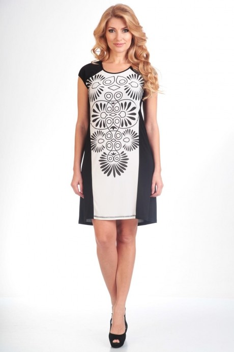 Летнее платье Лиона-Стиль 489 черный+белый
