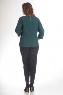 Брючный костюм /комплект Люана Плюс 420 черный с зеленым фото 2