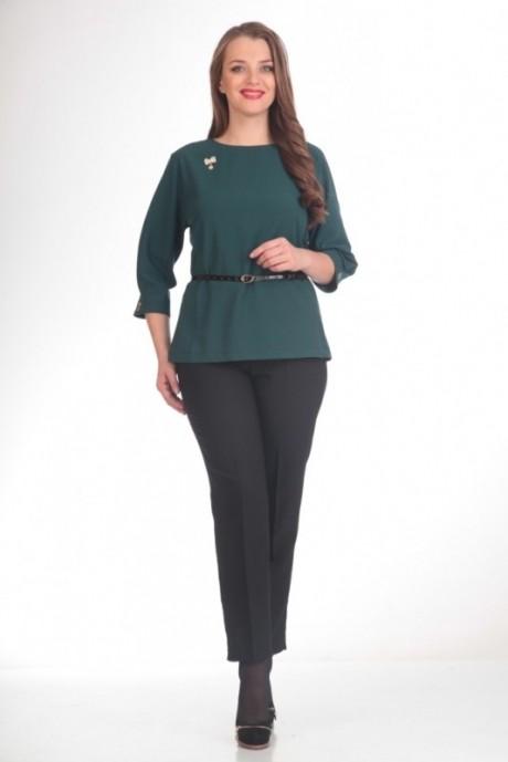 Брючный костюм /комплект Люана Плюс 420 черный с зеленым