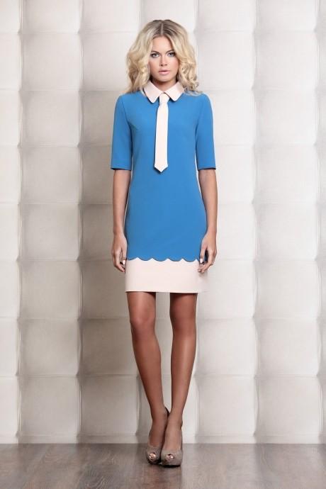 Деловое платье Prestige 2722 голубой