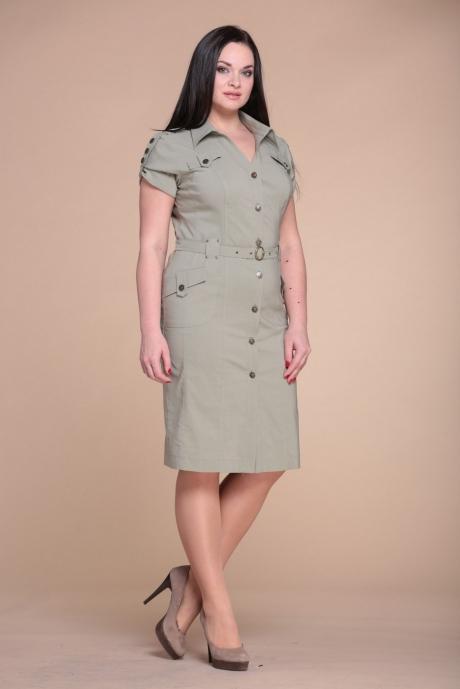 Повседневное платье ЮРС 15-333 олива