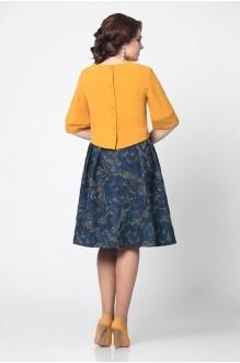 Юбочный костюм /комплект Мублиз 949 синяя юбка с горчичной блузой фото 2