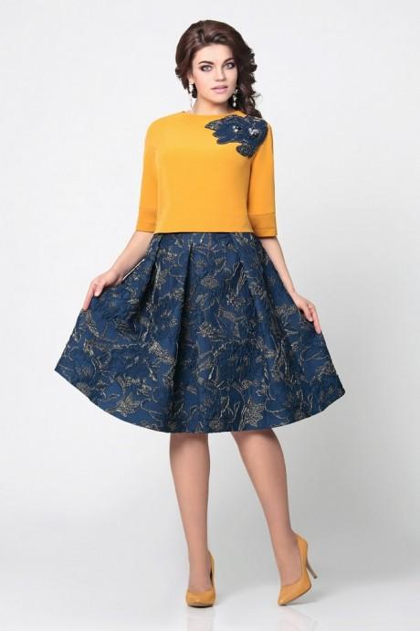 Юбочный костюм /комплект Мублиз 949 синяя юбка с горчичной блузой