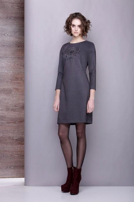 Повседневное платье Golden Vallеy 4197 клет. серо-черная