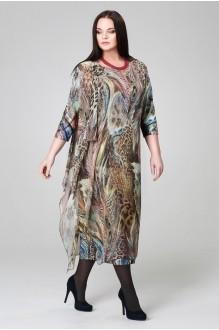 Длинные платья Анна 908 синий/горох фото 1