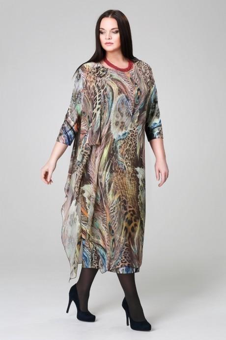 Длинные платья Анна 908 синий/горох
