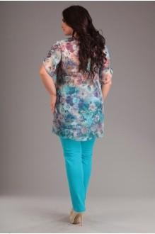 Брючные костюмы /комплекты Лиона-Стиль 484 бирюза+цветы  фото 2