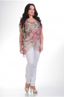 Брючный костюм /комплект Лиона-Стиль 484 белый+цветы  фото 1
