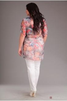 Брючный костюм /комплект Лиона-Стиль 484 белый+цветы  фото 2