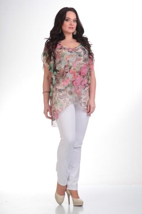 Брючный костюм /комплект Лиона-Стиль 484 белый+цветы