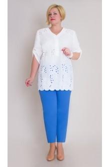 Брючный костюм /комплект Aira Style 425 -1 бело-голубой фото 1