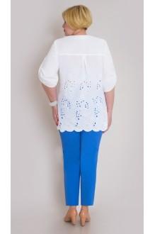 Брючный костюм /комплект Aira Style 425 -1 бело-голубой фото 2