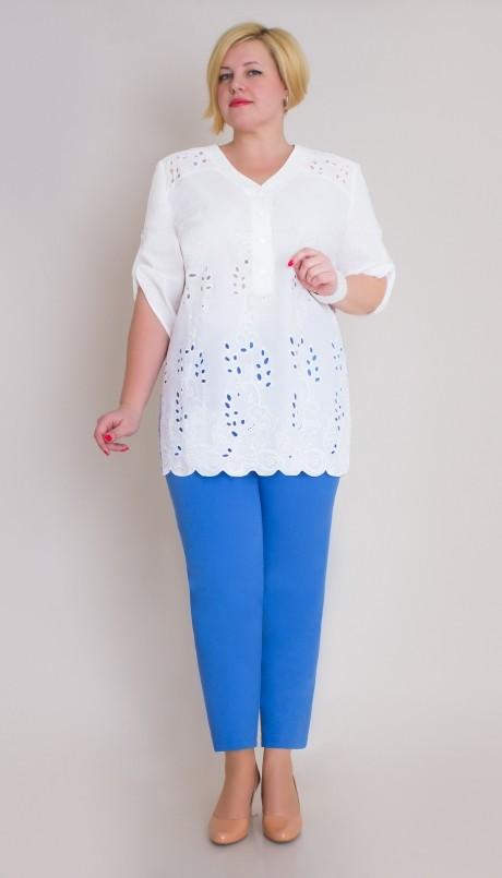 Брючный костюм /комплект Aira Style 425 -1 бело-голубой