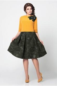 Мублиз 949 болотная юбка с горчичной блузой