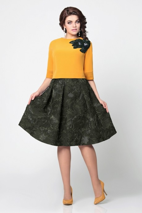 Юбочный костюм /комплект Мублиз 949 болотная юбка с горчичной блузой