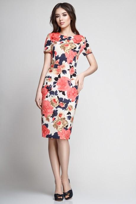 Летнее платье Teffi Style 1082 розы на бежевом фоне