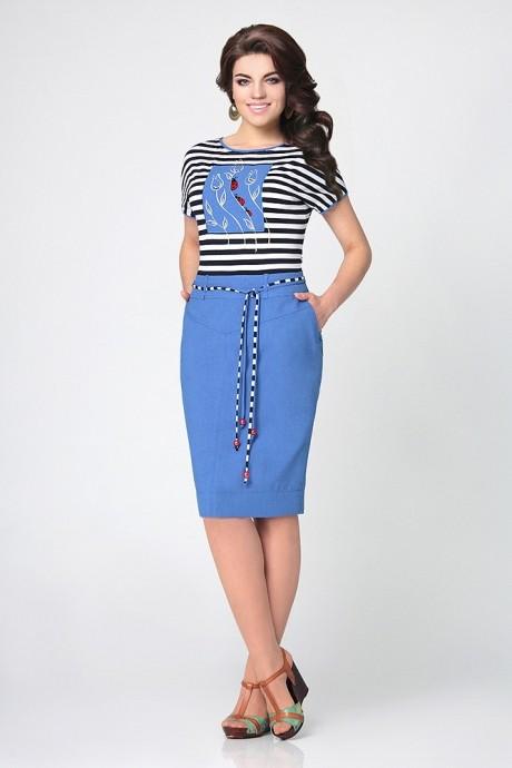 Летнее платье Мублиз 959 голубой