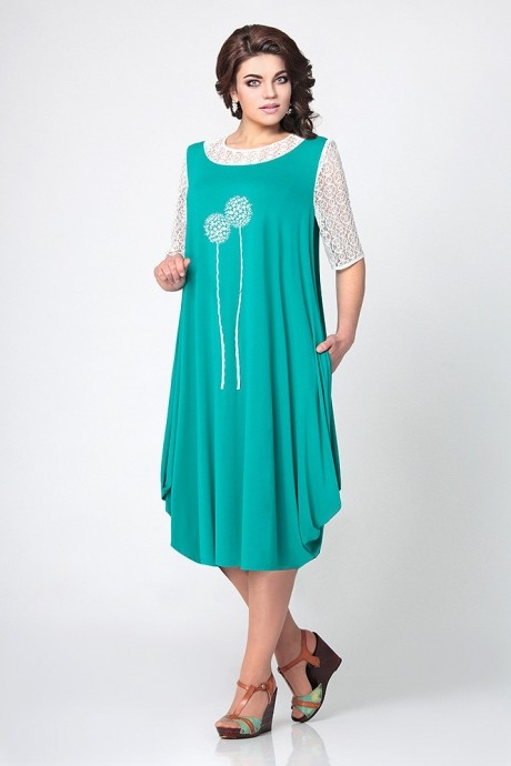 Повседневное платье Мублиз 967 бирюза