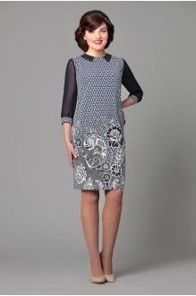 Вечернее платье Runella 1156 темно-синий/ узоры фото 1