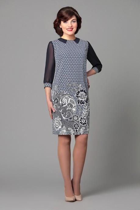Вечернее платье Runella 1156 темно-синий/ узоры