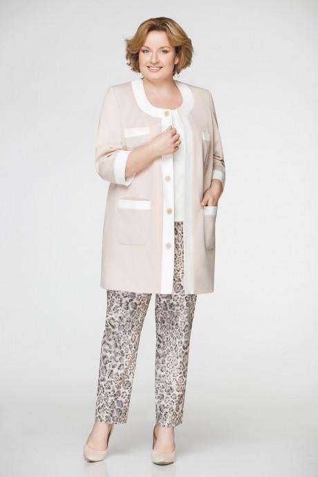 Брючный костюм /комплект Aira Style 467 беж/молоко
