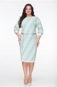 Повседневное платье ЮРС 15-544 бежевый с бирюзовым фото 1