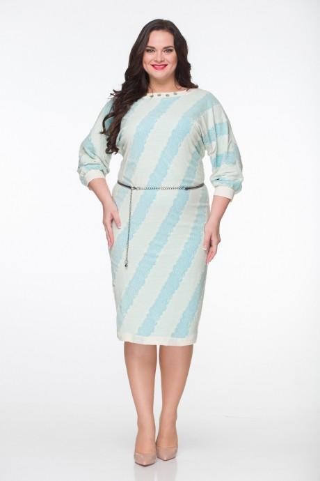 Повседневное платье ЮРС 15-544 бежевый с бирюзовым