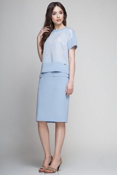 Юбочный костюм /комплект Teffi Style 1185 голубой