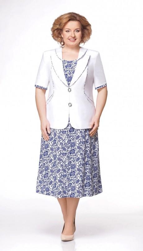Юбочный костюм /комплект Aira Style 475 белый/синий
