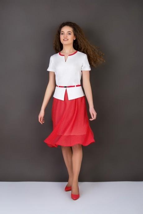 Повседневное платье ASPO design 913 BK бело-красный FashionCors