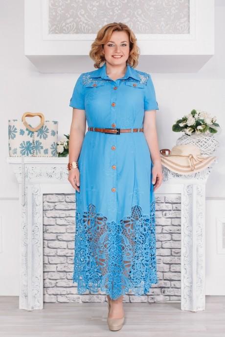 Длинное платье Aira Style 480 василек