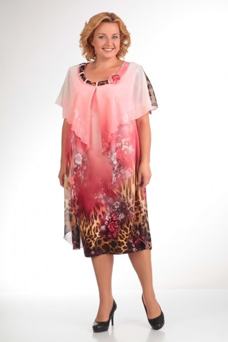 Вечерние платья Прити 66 розовый/леопард