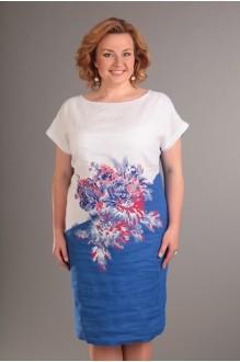 Летнее платье Diomant 1086  белый/синий фото 2