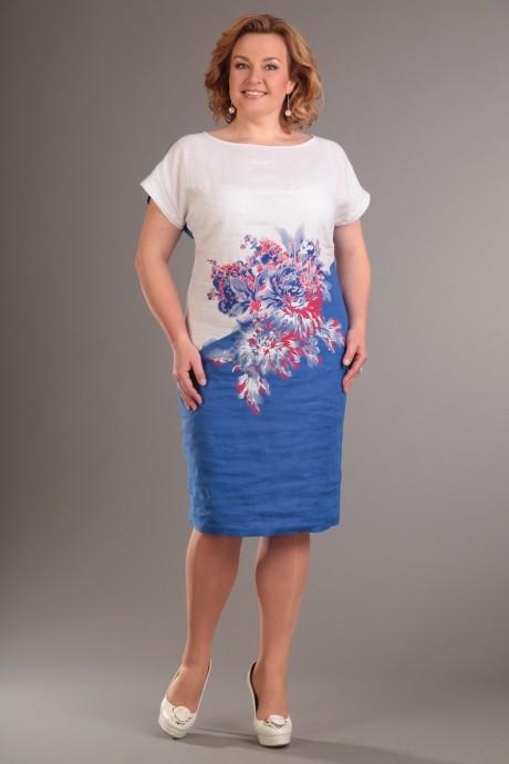 Летнее платье Diomant 1086  белый/синий