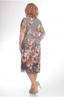 Летнее платье Орхидея Люкс 712 цветы на сером фоне фото 2