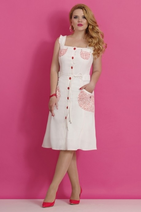 Летнее платье Lissana 1830 белый/красный