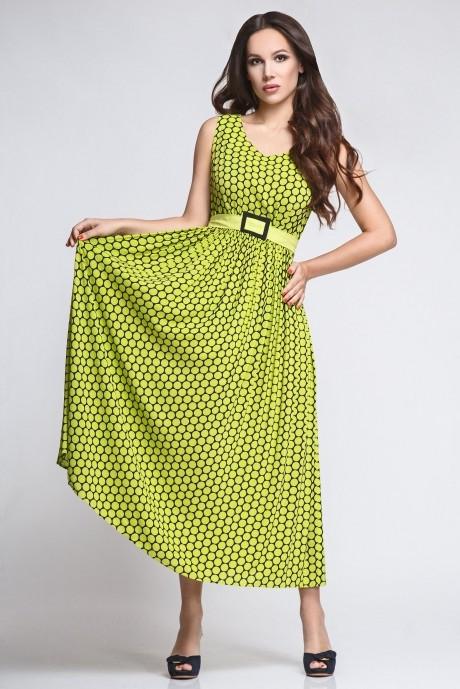 Длинное платье Teffi Style 1169 горох лайм